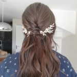 Wavy half up half down wedding hair with bespoke hair vines